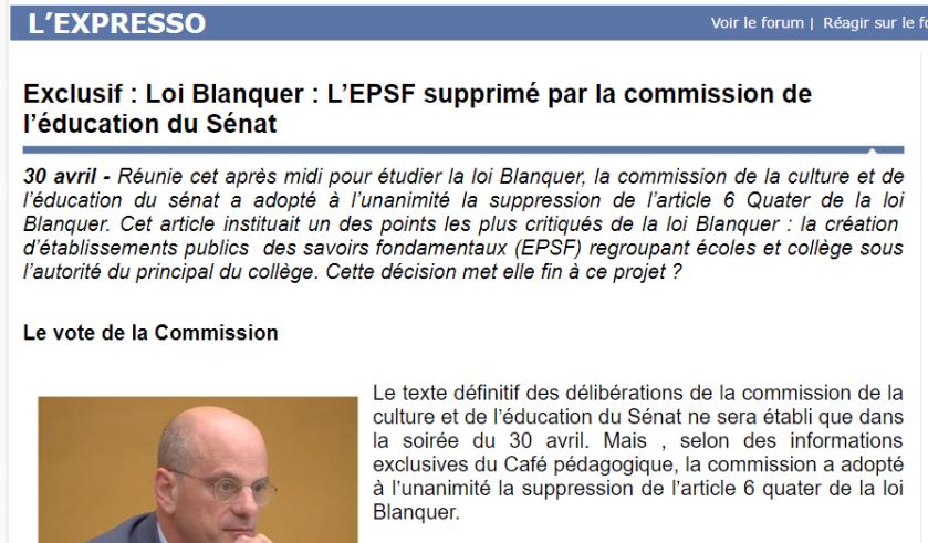 Article café pédagogique suppression des EPSF 30.04.209 #bloquonsblanquer école confiance