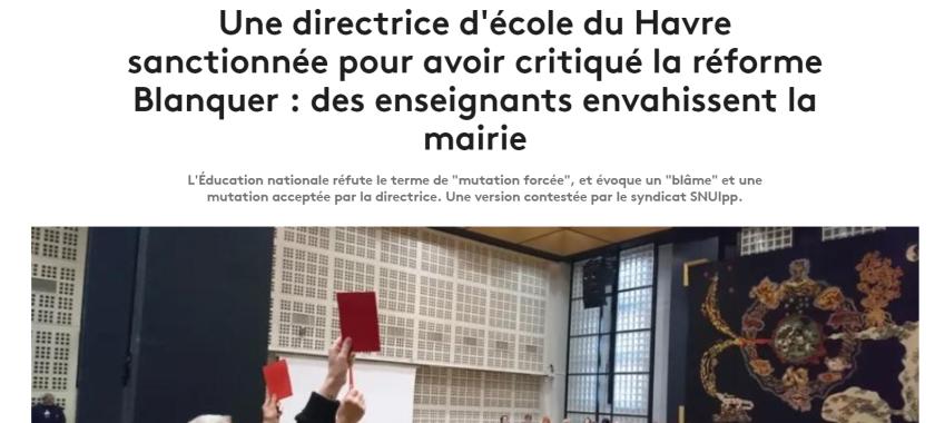 article france tv info directrice d'école du havre blâmée #bloquonsblanquer école de la confiance