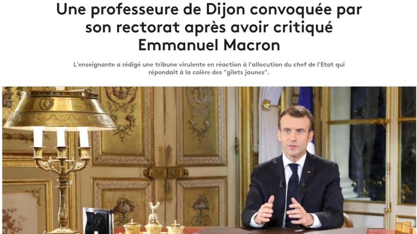 article france tv info enseignante Dijon convoquée pour avoir critiqué Macron #bloquonsblanquer école de la confiance
