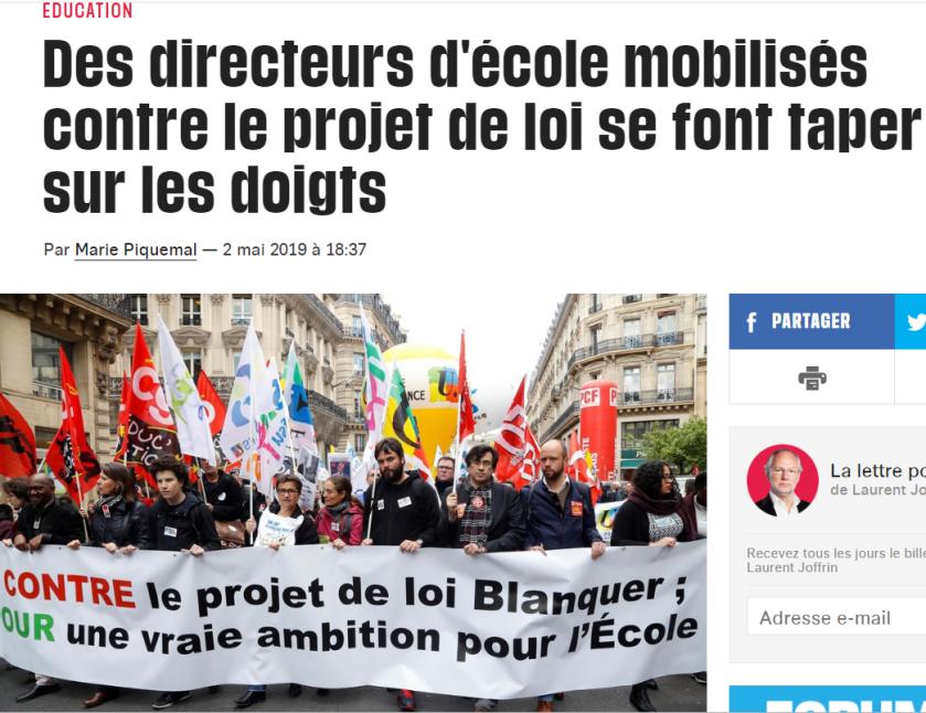 Artcile Libération des directeurs se font taper sur les doigts 02_05_2019 #bloquonsblanquer école de la confiance