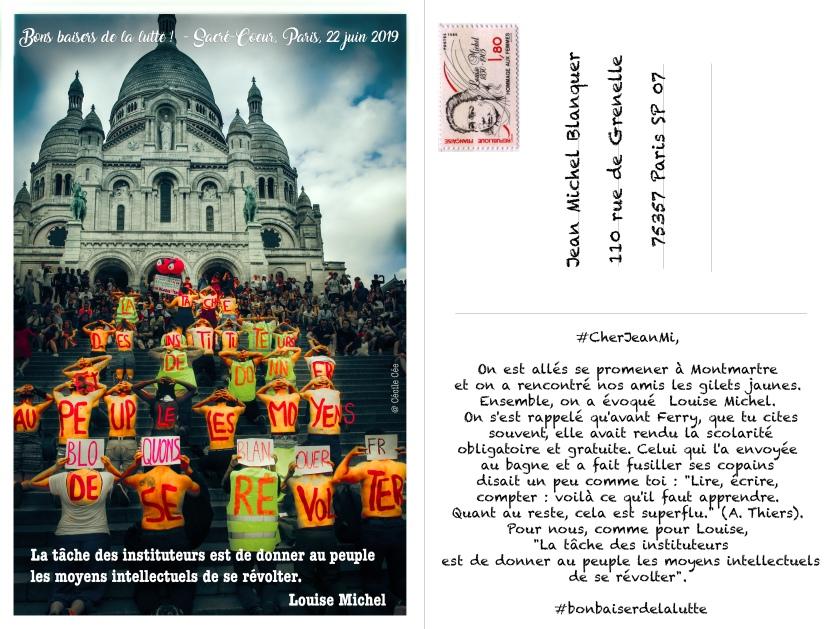 Action de visibilité commune profs-gilets jaunes à Montmartre le 22 juin 2019, en hommage à Louise Michel